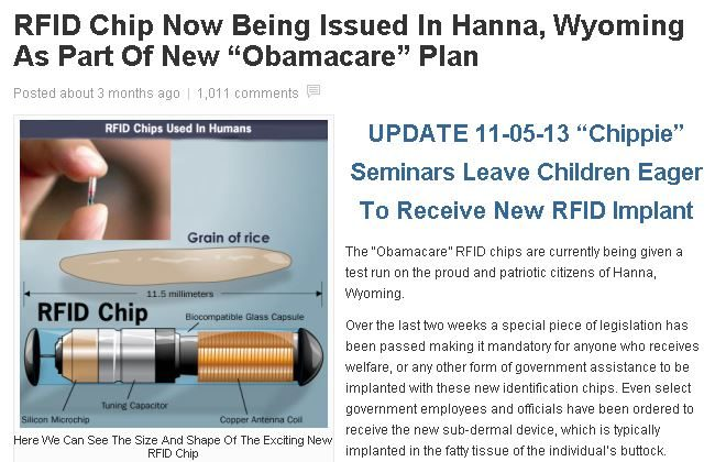 Obamacare Microchip Hoax: All 'Americans Will Receive RFID