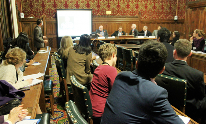 A forum on organ harvesting in China held by MPs in a committee room at the U.K. Parliament on Nov. 11, 2013. The forum was chaired by MP Neil Harris. (Courtesy of David Kilgour)