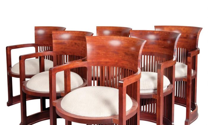 This set of six fruitwood dining chairs designed by Frank Lloyd Wright and owned by the late Ex-mayor Ed Koch was sold for $11,250 at an auction in New York on Nov. 18, 2013. (Courtesy of Lloyd New York)