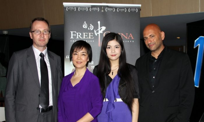 Greens MP David Shoebridge, Jennifer Zeng, Zeng's daughter, Melody, and director Michael Perlman at the Australian premier of 'Free China: The Courage to Believe' at Events Cinema, Bondi Junction, Nov 11. (Shar Adams/Epoch Times)