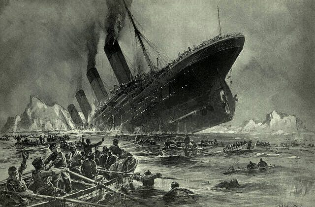 "An engraving of the Titanic by Willy Stöwer titled ""Der Untergang der Titanic."" (Wikimedia Commons)"