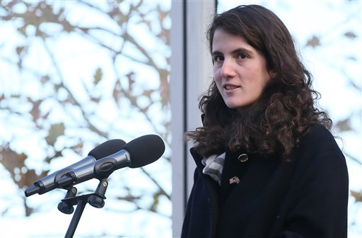 Tatiana Schlossberg granddaughter of President J.F. Kennedy makes a short speech during a ceremony at the JFK memorial at Runnymede, England, Friday, Nov. 22, 2013. A short ceremony took place at the JFK memorial which overlooks the site of the signing go the Magna Carta in 1215. Friday is the 50th anniversary of the assassination of President John F. Kennedy in Dallas. (AP Photo/Alastair Grant)