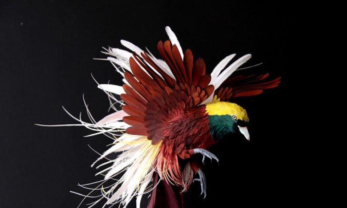 A bird made out of paper and wire. (Courtesy of Diana Beltran Herrera)
