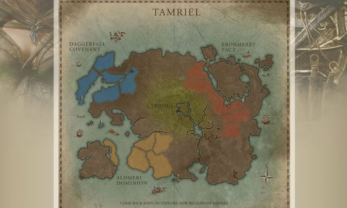 A screenshot of http://elderscrollsonline.com shows the map of Tamriel.
