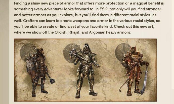 A screenshot of the Elder Scrolls Online website shows the new armor.