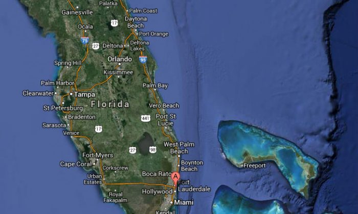 A Google Maps screenshot shows the location of the airport in Fort Lauderdale, Fla.
