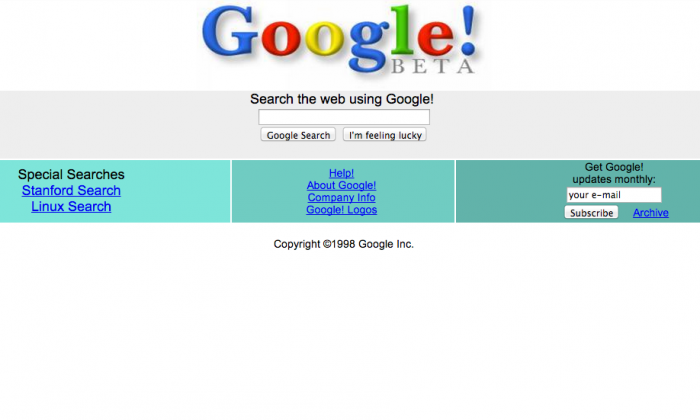 The original google search screen when google first launched in 1998. (Screenshot via web.archive.org)