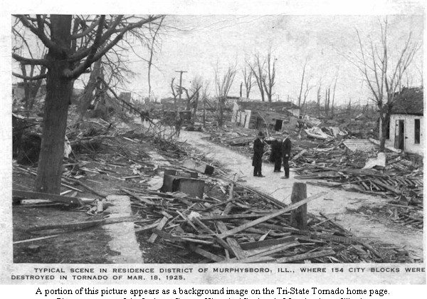 Aftermath in Murphysboro, Illinois of the 1925 Tri-State Tornado that devastated 219 miles of land across three states. (National Weather Service/Jackson County Historical Society, Murphysboro, Illinois)