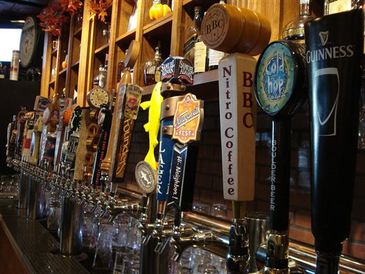 This Oct. 20, 2013, photo shows beer taps at The New World Tavern in Plymouth, Mass. (AP Photo/Terry Kole)