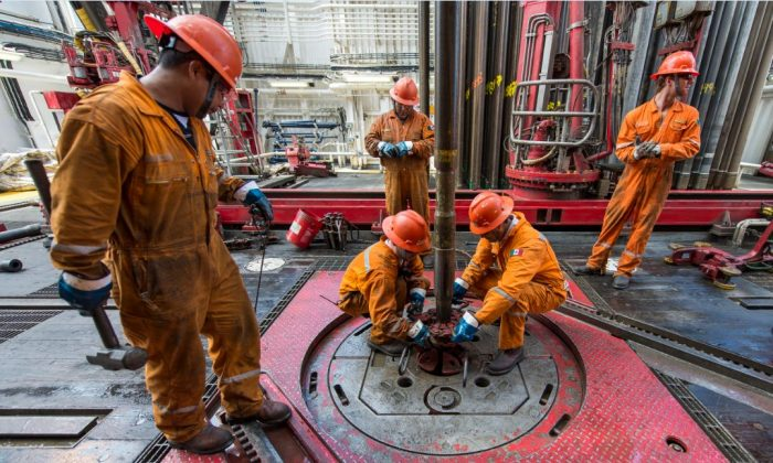 A file photo of workers at Mexico's state-owned oil company PEMEX, in the Gulf of Mexico on Aug. 30, 2013. (Omar Torres/AFP/Getty Images)