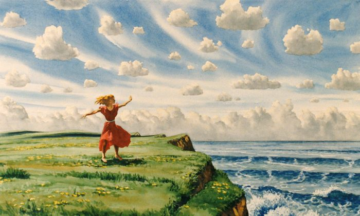 """""""Dancing on the Edge."""" The first painting of New Island. Lee Mothes painted the picture and imagined where the girl might be standing, what was to the left or right of her, thus the idea of New Island came into being. (Lee Mothes)"""