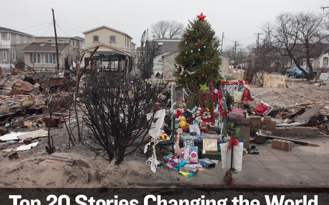 A holiday memorial in Breezy Point, Queens, after Superstorm Sandy, seen on Jan. 16, 2013. (Samira Bouaou/Epoch Times)