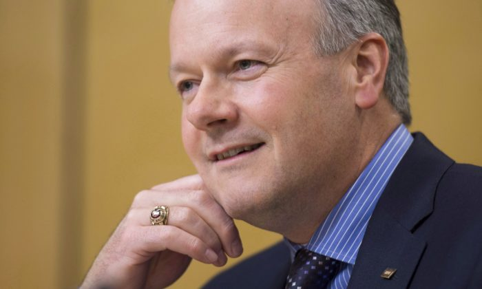 Governor of the Bank of Canada, Stephen Poloz, waits to appear before the Senate Standing Committee on Banking, Trade and Commerce on Nov. 20, 2013, in Ottawa. On Dec. 4, 2013, the bank again kept in place its key rate at 1 percent, a level that has helped keep borrowing costs near historic lows for several years.  (The Canadian Press/Adrian Wyld)