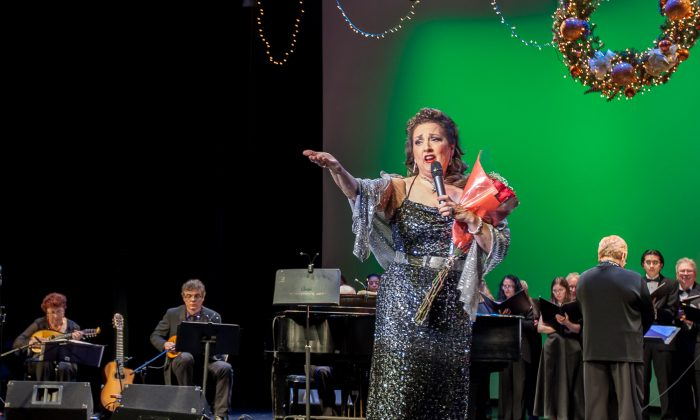 "Cristina Fontanelli singing at her recital ""Christmas in Italy"" at the Tribeca Performing Arts Center, Manhattan, Dec. 7. (Petr Svab/Epoch Times)"