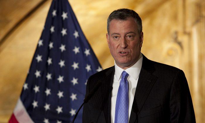 New York City Mayor Bill de Blasio on Dec. 31, 2013. (Samira Bouaou/Epoch Times)