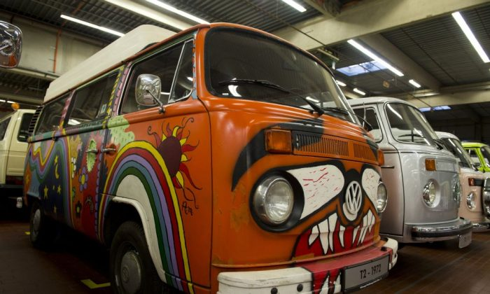 A Volkswagen T2 aka kombi or bulli 'Hippie Bus' from 173 is on display at a Volkswagen workshop in Hanover on December 9, 2013.  (JOHN MACDOUGALL/AFP/Getty Images)