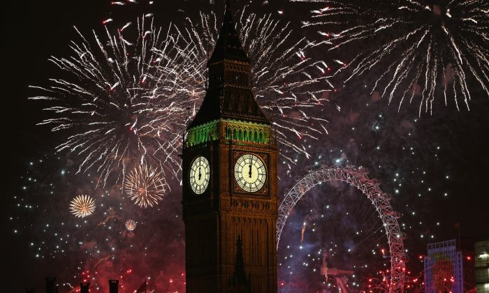 Fireworks light up the London skyline and Big Ben just after midnight on January 1, 2014 in London, England. Thousands of people lined the banks of the River Thames in central London to see in the New Year with a spectacular fireworks display. (Dan Kitwood/Getty Images)