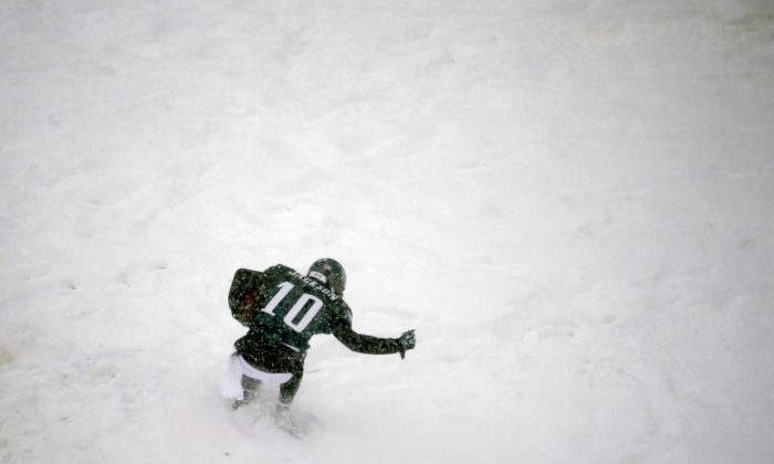 Philadelphia Eagles' DeSean Jackson celebrates in the snow after a touchdown during the second half of an NFL football game against the Detroit Lions, Sunday, Dec. 8, 2013, in Philadelphia. (AP Photo/Matt Rourke)