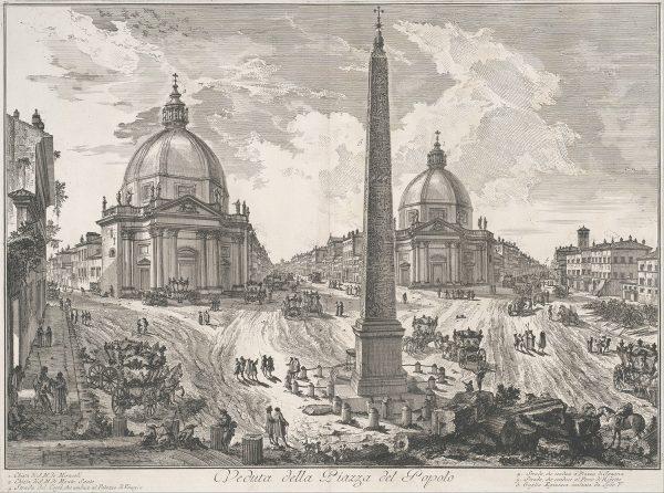 The Piazza del Popolo, ca. 1750, etching, by Giovanni Battista Piranesi. (The Metropolitan Museum of Art)