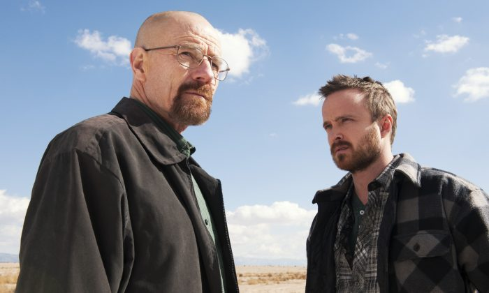"Breaking Bad Season 6 filming exist. An article saying it will start shooting January 2015 is nothing more than a hoax. This image released by AMC shows Bryan Cranston as Walter White, left, and Aaron Paul as Jesse Pinkman in a scene from ""Breaking Bad."" (AP Photo/AMC, Frank Ockenfels )"