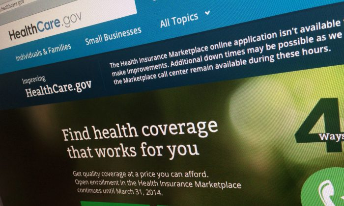 This photo of part of the HealthCare.gov website is photographed in Washington, in this Nov. 29, 2013 file photo. (AP Photo/Jon Elswick)