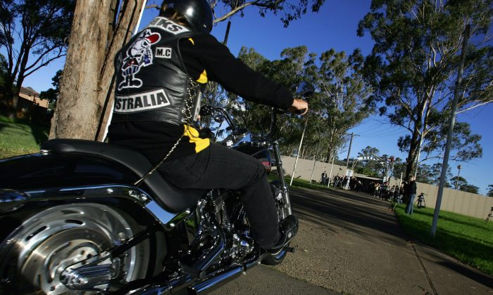 Rival bike club members from the Pink's Bikie gang arrive for a meeting of the NSW Bikers Council at the Rebel's Clubhouse on April 26, 2009 in Sydney, Australia. The United Motorcycle Council of Queensland has announced it will challenge Queensland's controversial anti-bikie laws in the High Court in coming weeks. (Sergio Dionisio/Getty Images)