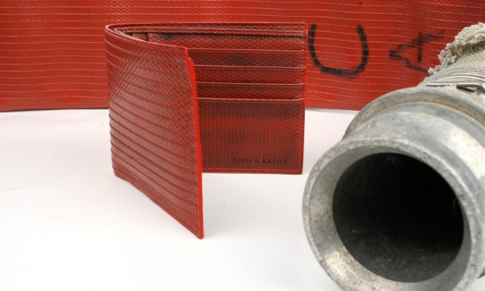 A wallet by Elvis & Kresse made out of reclaimed fire hose that would have otherwise been destined for landfill. Elvis & Kresse donates 50 percent of its profit to the Fire Fighters Charity. (Elvis & Kresse)