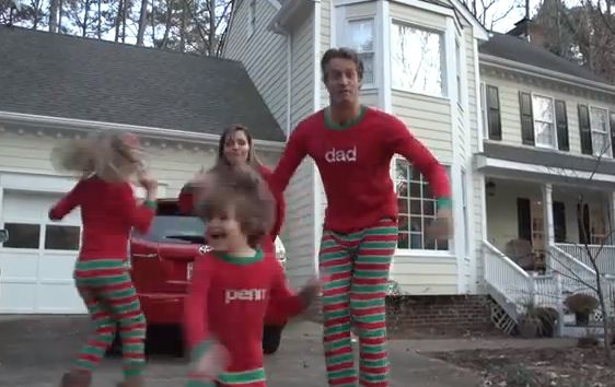 The Holderness family in their Christmas jammies. (Screenshot/YouTube)