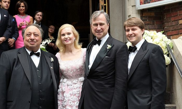 (L-R) John Catsimatidis, Tricia Nixon Cox, Edward F. Cox, and Christopher Nixon Cox attend the wedding of Andrea Catsimatidis and Christopher Nixon Cox in New York on June 4, 2011. (Paul Zimmerman/Getty Images)