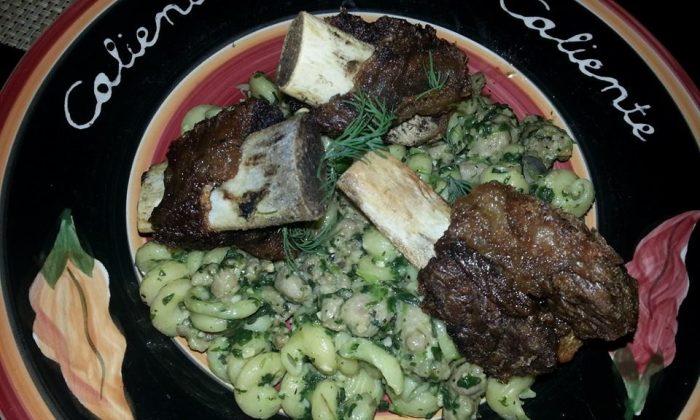 Short Ribs and  Cavatappi Pasta with Cream of Spinach (Nicole Mordeno-Kenneally/Nicole's Big Idea)