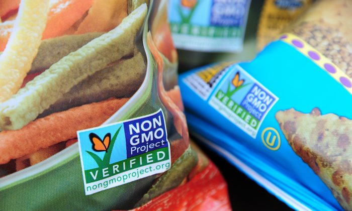 Non-GMO labels on bags of snack foods in Los Angeles (file photo). A vote to make GMO labeling mandatory in Washington state failed in 2013, but the issue may appear on ballots in a few states in 2014. (Robyn Beck/AFP/Getty Images)