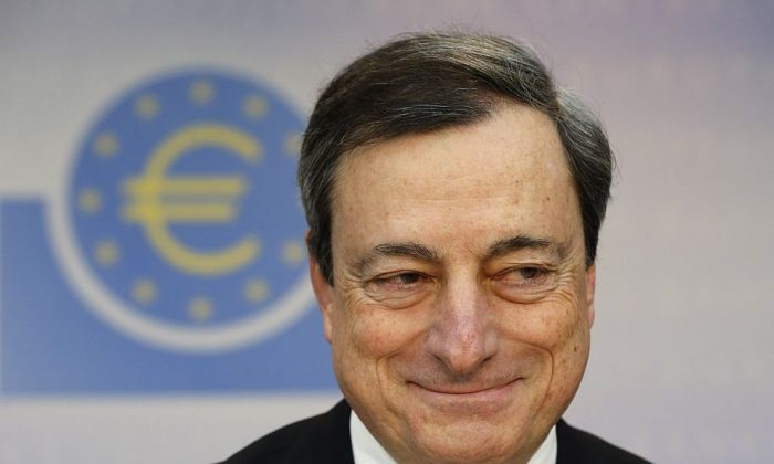 President of European Central Bank Mario Draghi at a news conference in Frankfurt, Germany, Dec. 5. (AP Photo/Michael Probst)