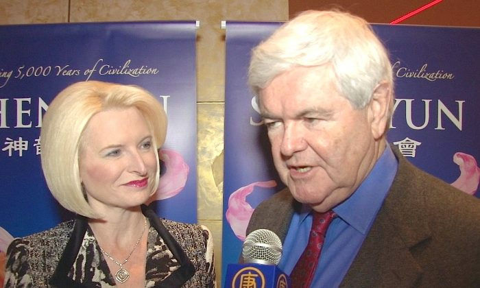 Callista and Newt Gingrich enjoy an evening at Shen Yun Performing Arts at Atlanta's Cobb Energy Performing Arts Centre, on Dec. 27, 2013. (Courtesy of NTD Television)