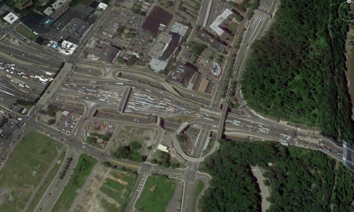 Google Earth image of the approaches to the George Washington Bridge.
