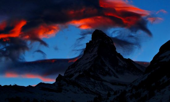 US Flag Projected Onto Swiss Alps Mountain in Show of Solidarity