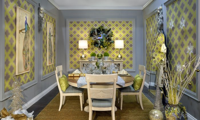 Turquoise, greens, and yellows, with a bit of silver and grey, add a touch of cool modernity to this room. (Larry Arnal)