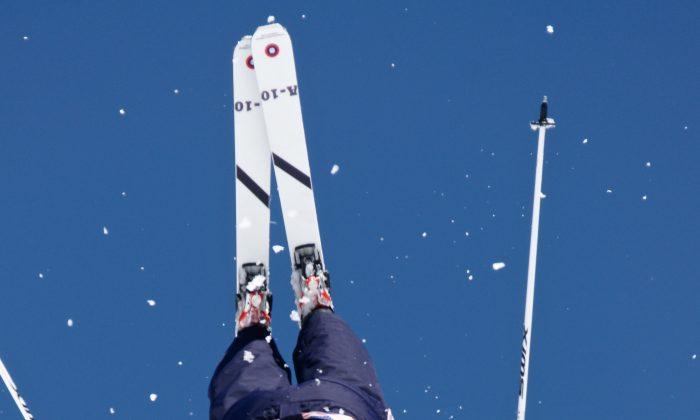 U.S. Ski Team Athlete K.C. Oakley doing an aerial acrobatic flip wearing Bomber skis. (Photo courtesy of Bomber)