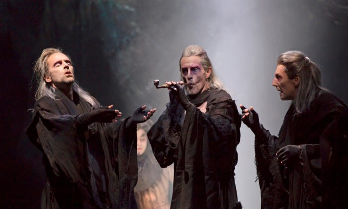 The three witches played with ferocity by three men, (L–R) Malcolm Gets, John Glover, and Byron Jennings. (T. Charles Erickson)