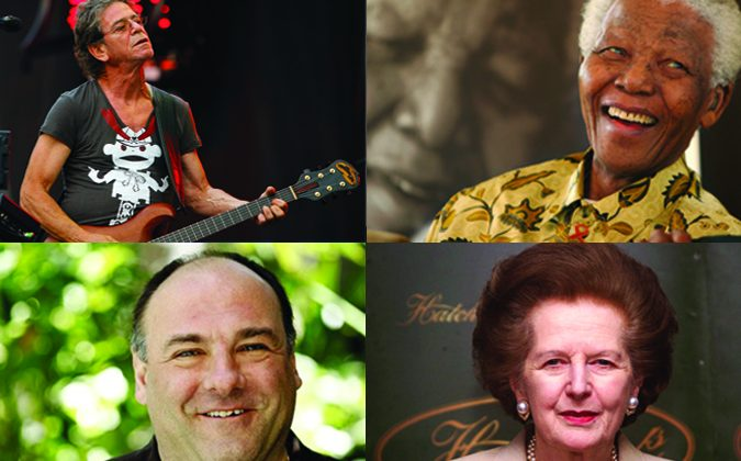 From Left Up: Lou Reed (AP Photo/John Smierciak, File), James Gandolfini (AP Photo/Matt Sayles, File), Nelson Mandela (AP Photo/Denis Farrell), and Margaret Thatcher (Hugo Philpott/AFP/Getty Images).