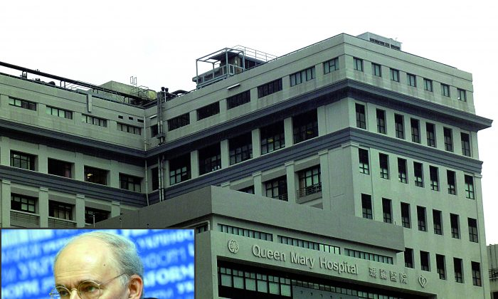 This composite image shows human rights lawyer David Matas in the bottom lef-hand corner and Hong Kong's Queen Mary Hospital in the background. The hospital holds a liver transplant registry, which, if opened to the public, could provide important information about forced organ harvesting in China. (Poon Chai-Shu/Epoch Times)