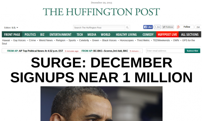 A screenshot shows the front page of the Huffington Post on December 29, 2013. (Screenshot/Huffington Post)