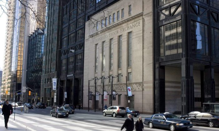 The Toronto Stock Exchange building on Bay Street is shown here in a file photo. The TSX had a strong 2013 despite weakness from precious and base metals. (The Canadian Press/Chris Young)