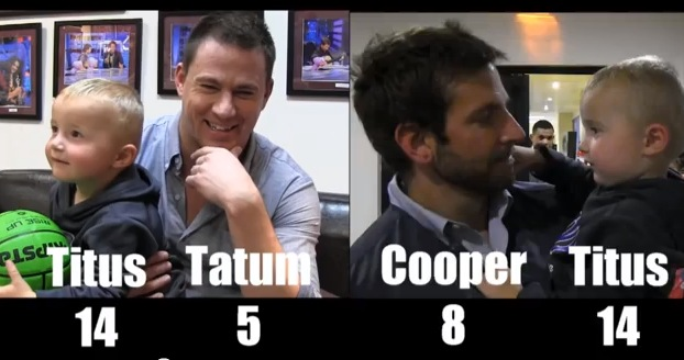 'Trick shot' toddler Titus with his new friends Channing Tatum and Bradley Cooper. (Screenshot/YouTube)