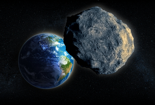 An illustration of an asteroid approaching Earth. (Shutterstock*)