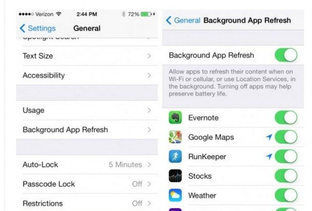 A screenshot shows the Settings and Background App Refresh in the iOS 7.
