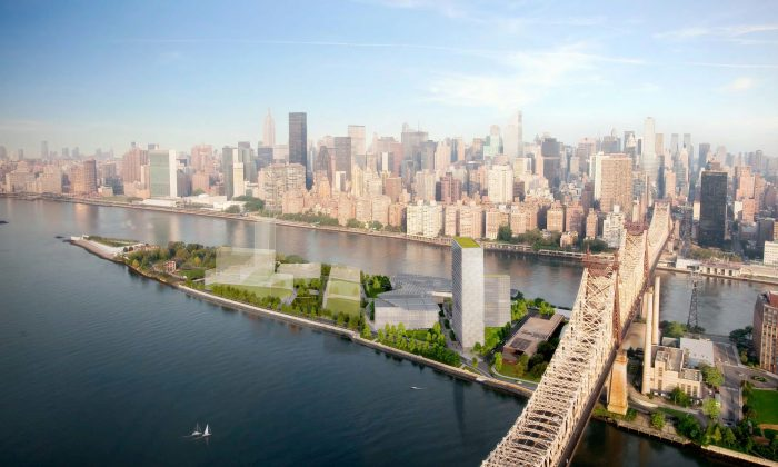 A rendering of the Cornell NYC Tech campus on Roosevelt Island in New York City. (Kilograph)