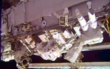 NASA astronauts Rick Mastracchio and Mike Hopkins spacewalk to perform repairs on the International Space Station Sunday, Dec. 21, 2013. (NASA)