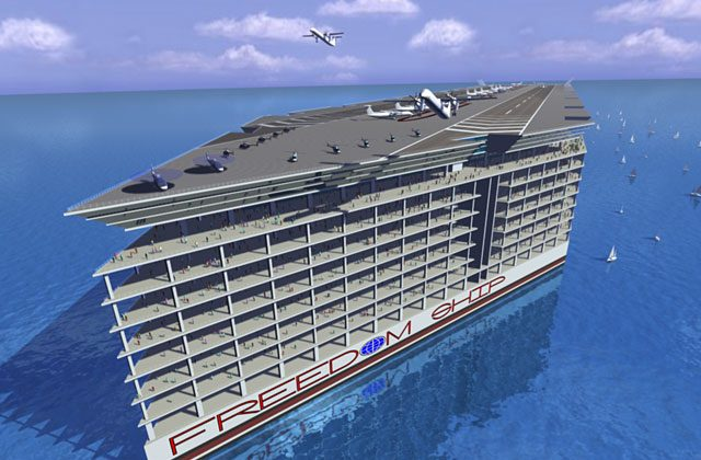 The design for the Freedom Ship, a floating city with all the amenities, including hospitals, schools, room for 100,000 people, and more. (Courtesy of Freedom Ship International)
