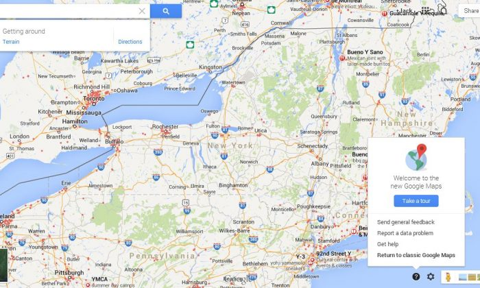 A Google Maps screenshot shows the location of how to revert it back to the old layout on the bottom right.