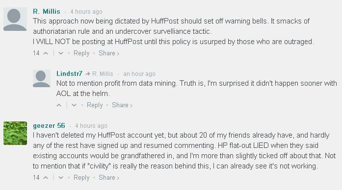 People upset with Huffington Post's new comment system. (Screenshot/Poynter)